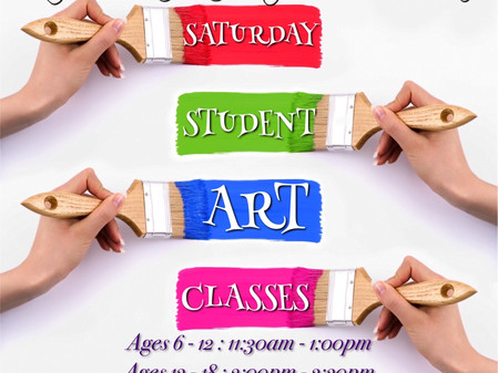 Saturday Art Classes for ages 6-18