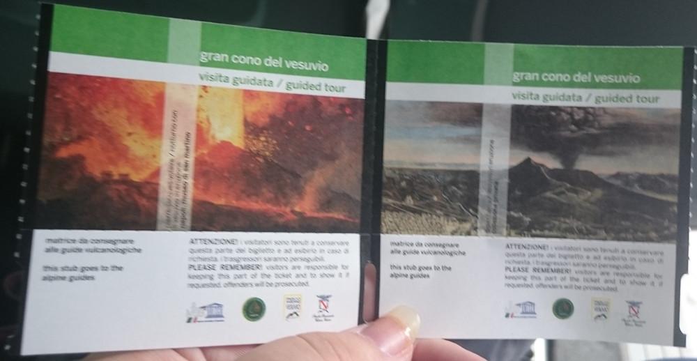 My ticket to Mount Vesuvius in Pompeii, Italy