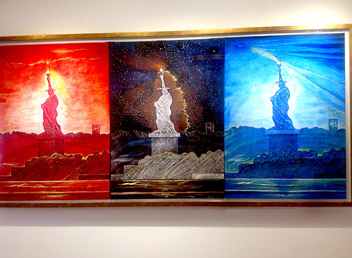 Triptych Liberty Con-Tempo 2020 Innovations NYC Art Exhibit MVR Artist 21c Lady Liberty