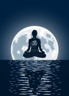 6645538-yoga-with-ohm-symbol-over-moon-background