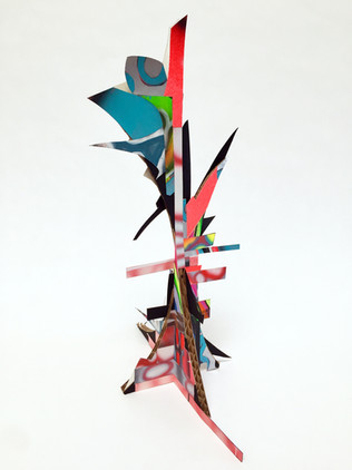 Laurie Steelink Sprit Cave shape-shifting road sign, 2020 Mixed media sculpture consisting of cardboard, acrylic paint, paper and PVA glue 16 x 7 1/4 x 11 3/8 inches