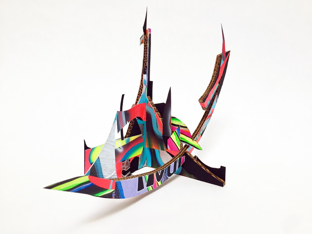 Laurie Steelink Dry docked Shape-shifting Dragon Ship, 2020 Mixed media sculpture consisting of cardboard, acrylic paint, paper and PVA glue 9 3/4 x 15 1/8 x 9 5/8 inches