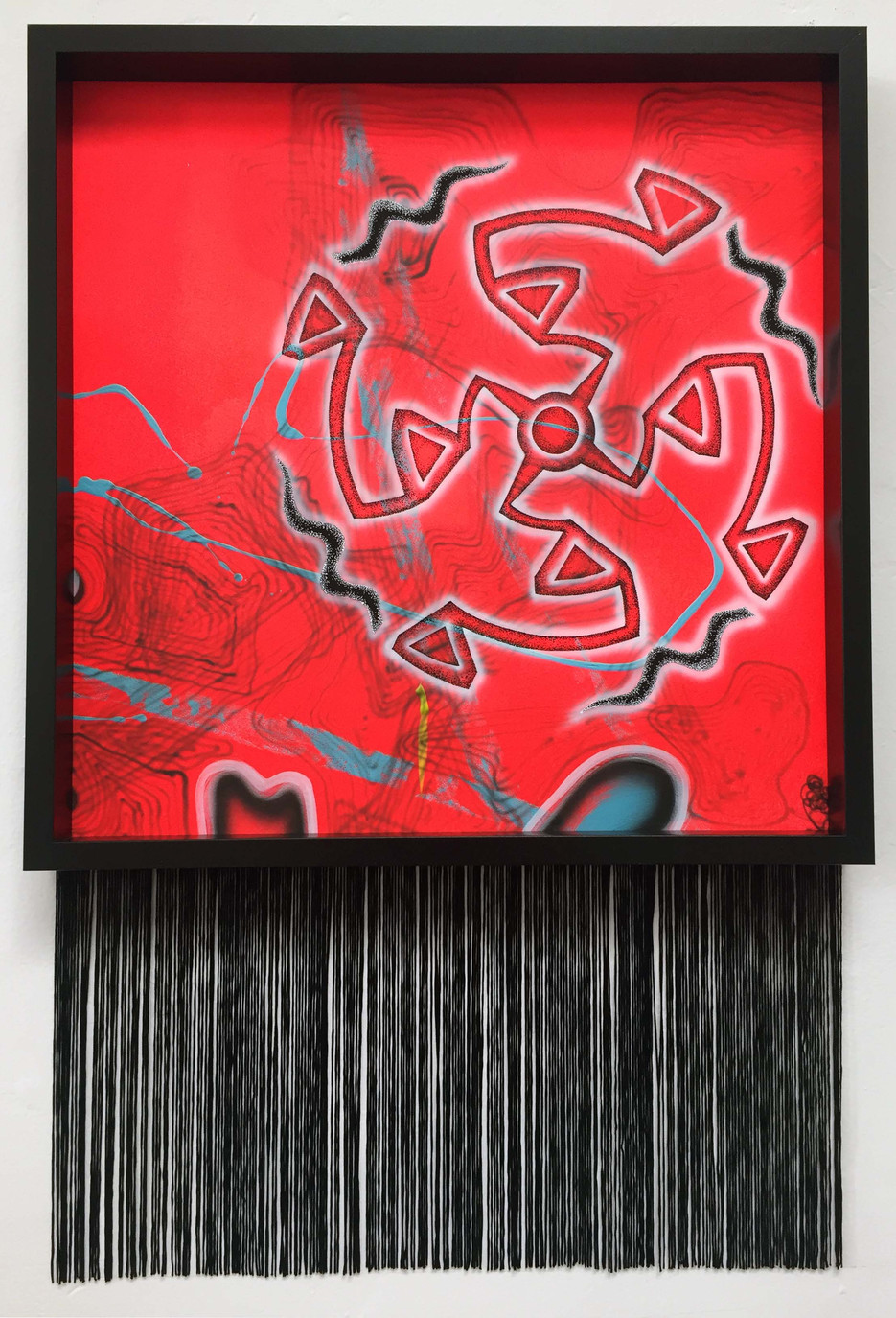 Laurie Steelink Prayer for completion and re-birth of all beings (And by extension II), 2019. Acrylic on paper in wood frame with rayon fringe 19 3/4 x 19 3/4 inches Framed 31 x 20 1/2 x 2 inches