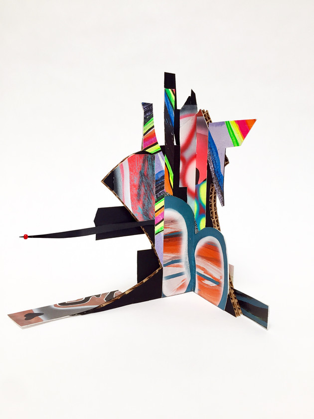 Laurie Steelink Sprit Cave Samurai shape-shifter, 2020 Mixed media sculpture consisting of cardboard, acrylic paint, paper and PVA glue 8 1/2 x 12 x 7 1/8 x 9 inches