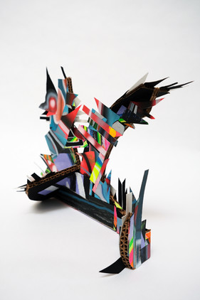 Laurie Steelink The Mothership, 2021 Mixed media sculpture consisting of cardboard, acrylic paint, paper and PVA glue 9 1/2 x 12 x 9 1/4 inches