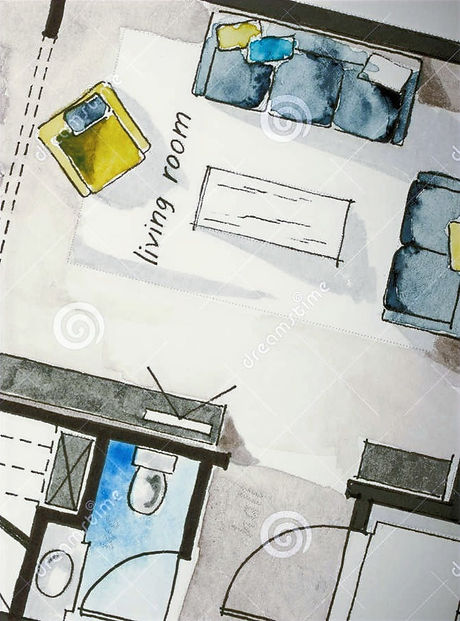 watercolor-ink-freehand-sketch-drawing-apartment-flat-floor-plan-fine-nib-yellow-pen-holder-penholde
