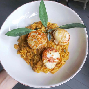 Scallops with Pumpkin Sage Risotto