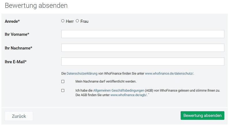 WhoFinance Hannes Böhlein Bewertung absenden