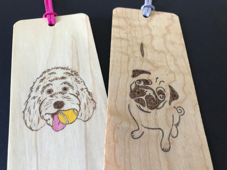 Golden doodle and Pug bookmark
