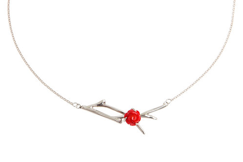 Red Rose Branch Necklace