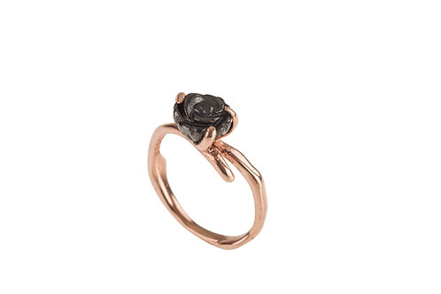 Yunnan Fine Flower Ring (black and rose gold plated)