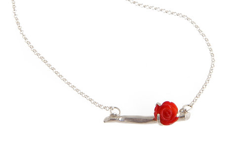 Small branch pendant with red rose