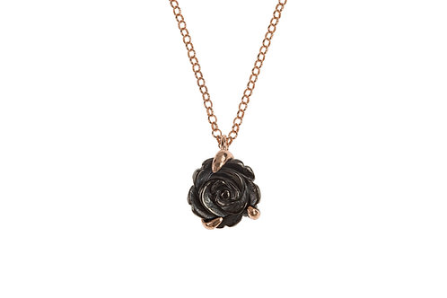 Black and Rose Gold Plated Flower Pendant