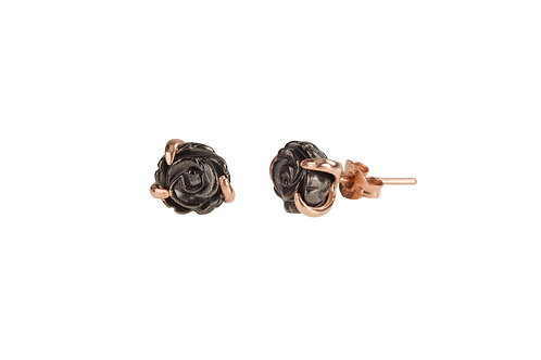 Black and Rose Gold Flower Studs