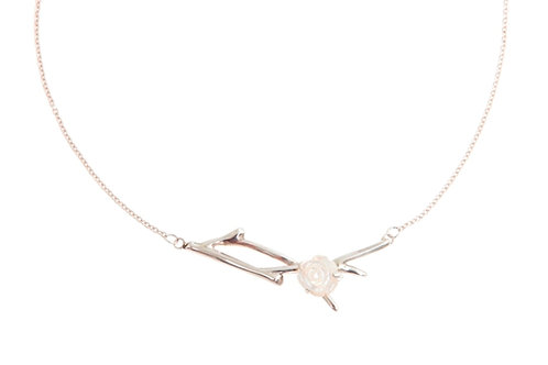 Large Branch Necklace with White Pearl Flower