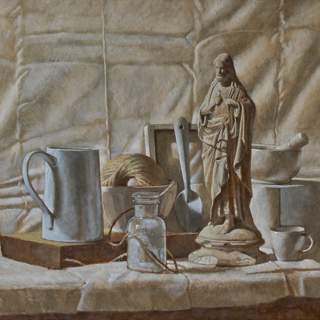 White still life, 70x50cm, Eggtempera an