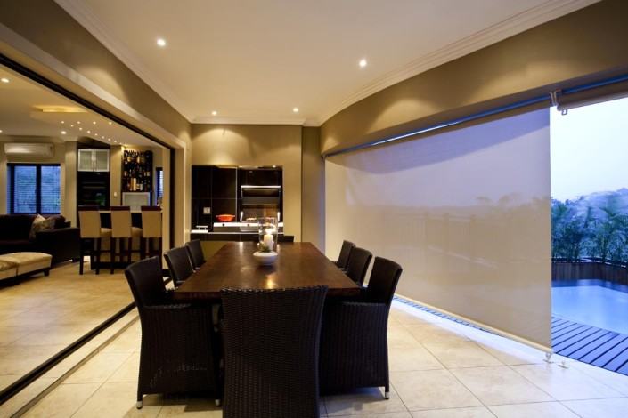 outdoor blind, dining room