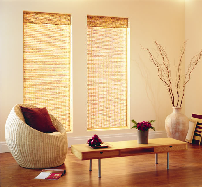 traditional bamboo blinds with fabric valance