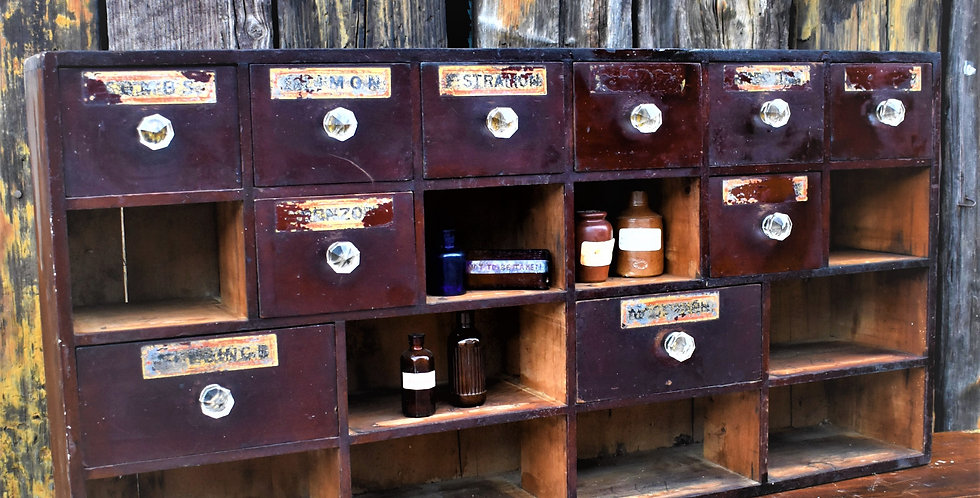 Antique Apothecary Drawers Bank of Drawers Cabinet 19th Century Pharmacy
