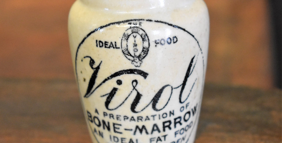 Vintage Virol Stoneware Bone Marrow Pot Typography