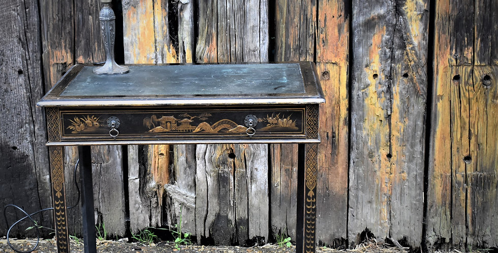 Antique Hand Painted Black Gilt Chinoiserie Embossed Leather Topped Table Desk