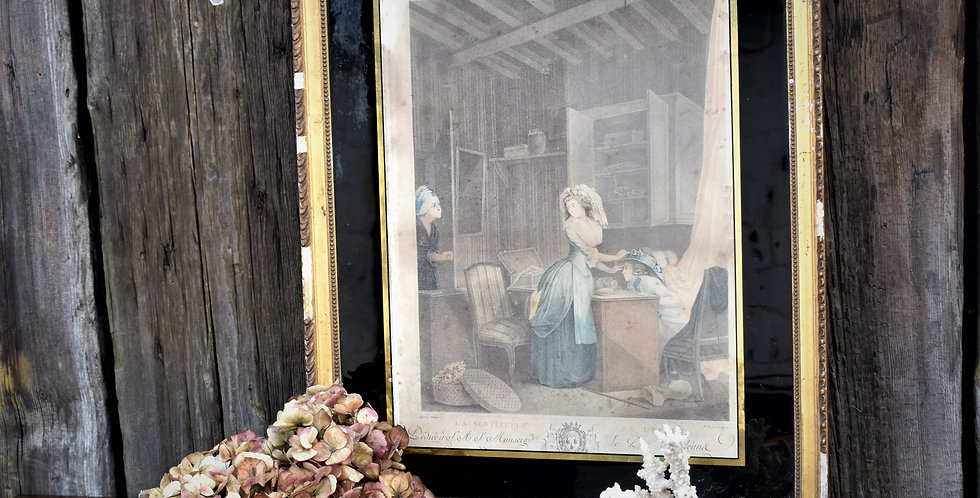 Antique Victorian Framed Print Picture Art With Painted Red & Gilt Mount