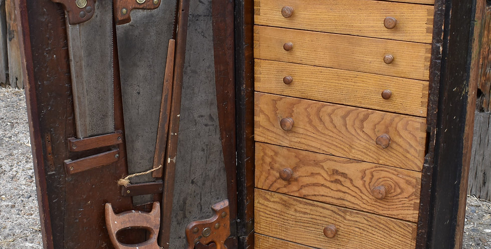 Antique Carpenters' Tool Chest Bank of Drawers Oak Woodwork Cabinet Hand Made