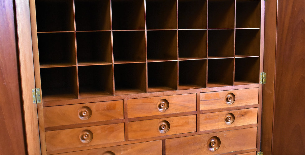 Antique Mahogany Cabinet Bank of Drawers Pigeon Holes Wine Cabinet Estate