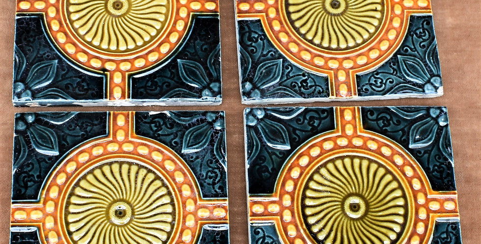 Antique 1900s Majolica Art Nouveau Tiles England Relief Moulded Four Blue Orange