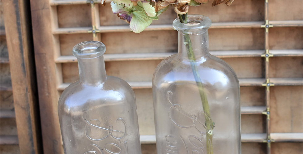 Antique Vintage Boots the Chemist Clear Glass Bottle Two available