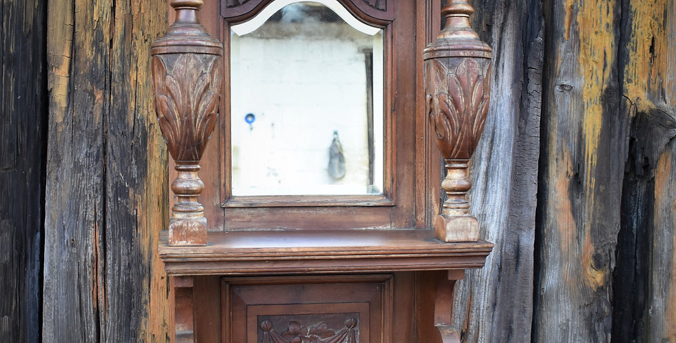 Antique Vintage Oak Wall Mirror Self Carved Floral Panel Turned Urn Supports