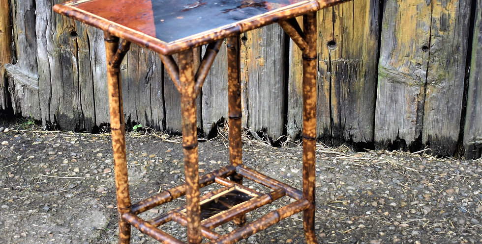Antique Victorian Bamboo Tortoise Shell Scorched Table Hand Painted Chinoiserie