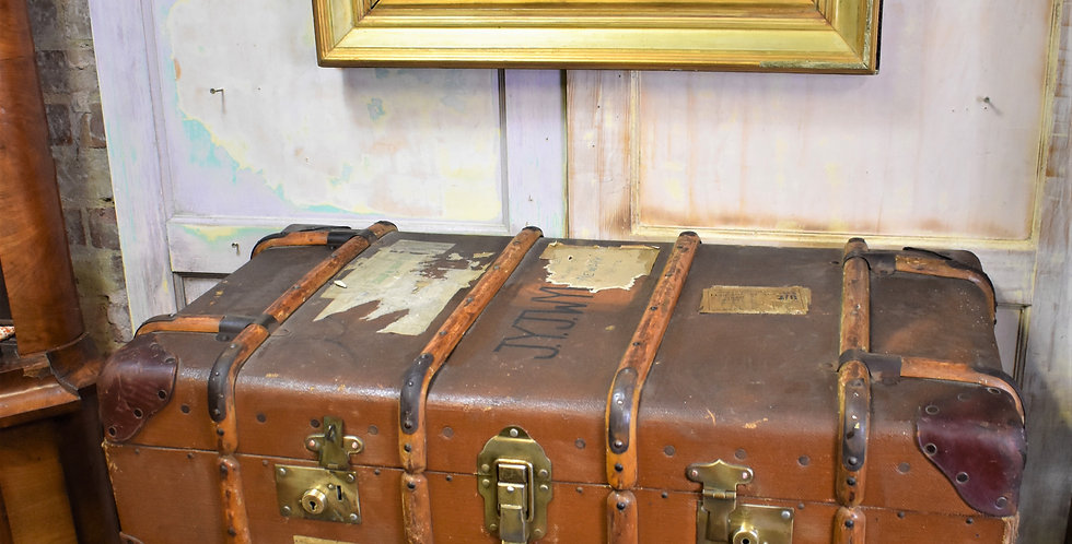 Antique Travel Bentwood Leather Steamer Case Table Storage Trunk