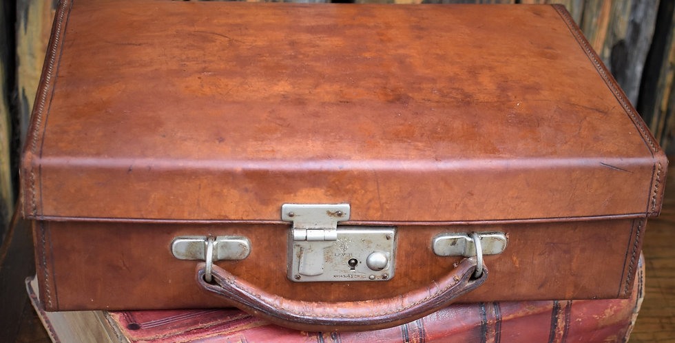 Antique Small Brown Leather Travel Suitcase Document Attache Case