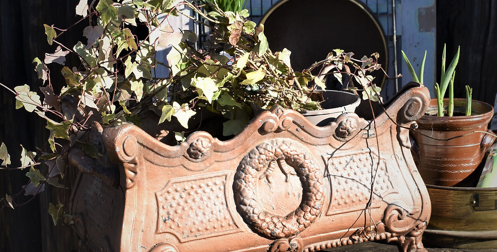 Antique French Cast Iron Planter Ornate Louis Philippe French Revival Trough