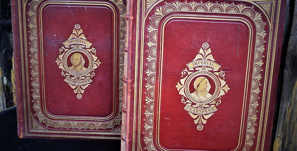 Antique Rare Imperial Shakespeare Charles Knight Books 2 Volumes Leather Binding