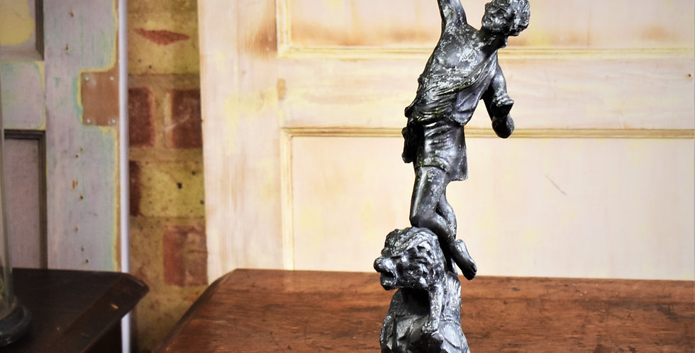 Antique Vintage Spelter Lady Lion Torch Statue In the Manor of Charles Ruchot