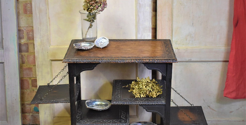 Antique 1910s Anglo Japanese Oak Carved Side Table Aesthetic Movement