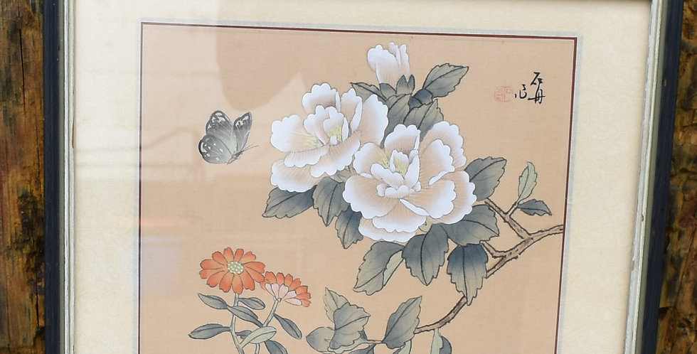 Vintage Oriental Chinese Watercolour Frame Picture Hand Painted Artist Signed