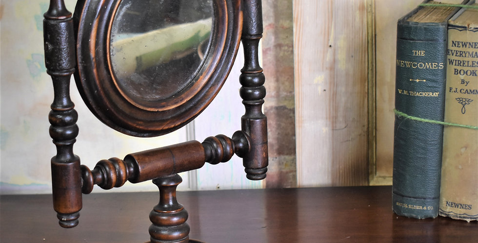 Antique Oak Table Top Adjustable Travel Swing Mirror Foxed Plate Shaving Make Up