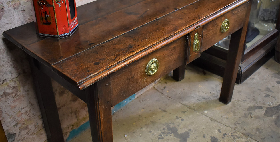 Antique Georgian Oak Plank Topped Side Table Breakfast Occasional Small Table