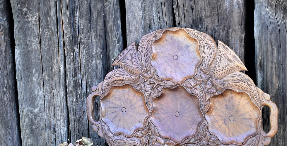 Antique Vintage Hand Carved Lotus Water Lily Pad Oriental Tray Plat