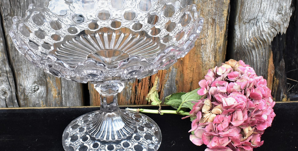 Vintage Cut Glass Cake Fruit Display Footed Dish Stand Bowl