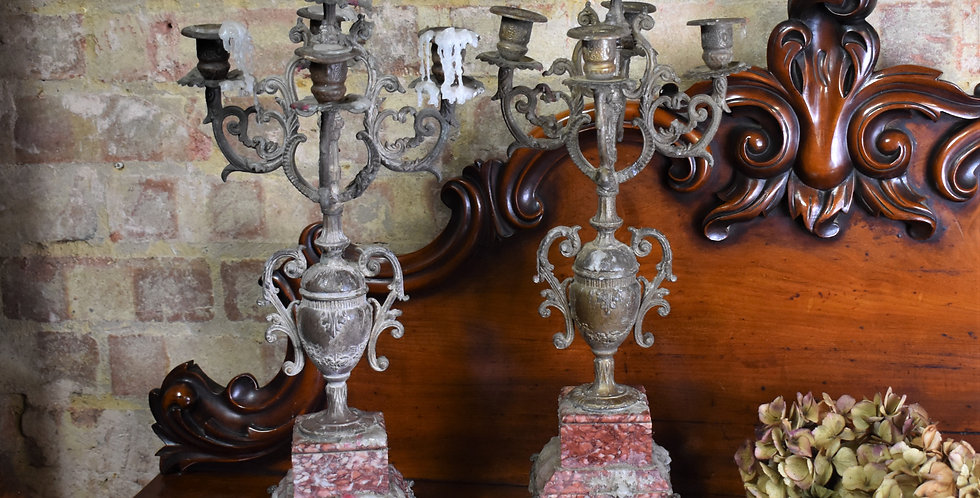 Antique Victorian Marble Agate Pair Candelabra Mantle Old Candlesticks