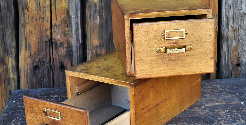 Vintage Advance Oak Index Filing Cabinet Drawers With Brass Handles Two Avail