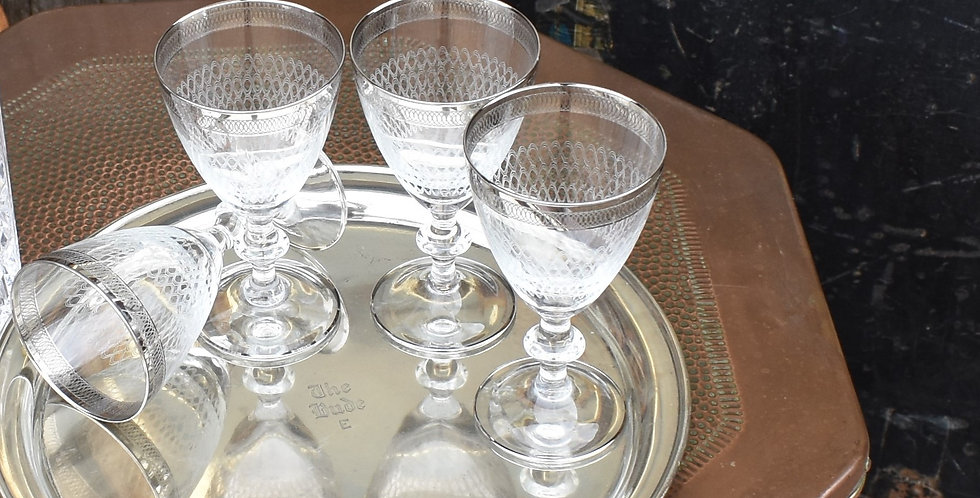 Vintage Art Deco Style Etched and Silver Rimmed Glasses