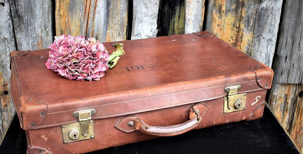 Vintage Brown Leather Suitcase Travel Case Storage Initials DJGL to Top