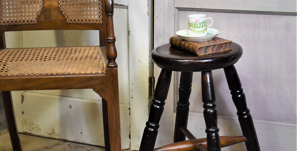 Antique Hand Carved Wooden Stool Small Bedside Bathroom Table Plant Stand
