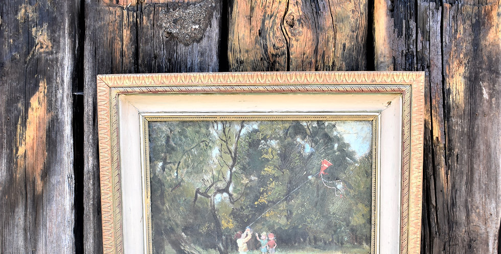 Antique Oil on Canvas Painting Children Kite Flying By Woolf Goldburg