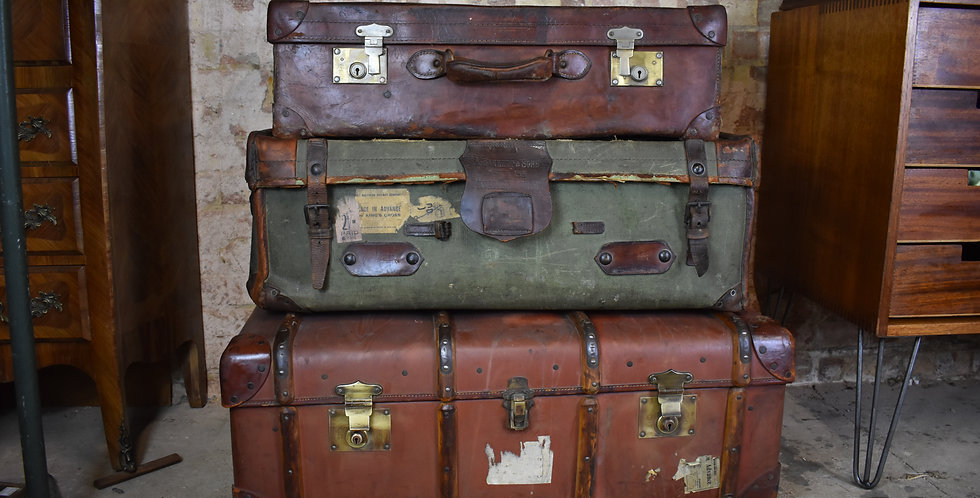 Hire - Vintage props leather travel trunk bentwood trunk